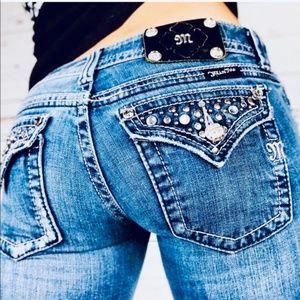 Miss Me Jeans - MISS ME JP5141BR Boot Whisker Dark Studded Flaps